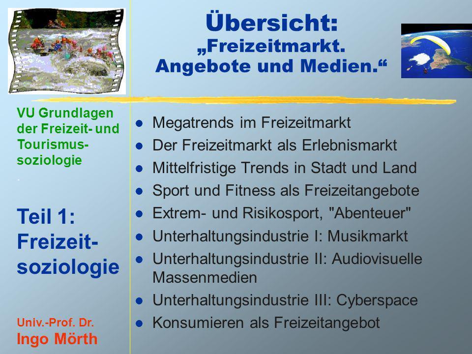 VU Grundlagen der Freizeit- und Tourismus- soziologie. Teil 1: Freizeit- soziologie Univ.-Prof. Dr. Ingo Mörth Übersicht: Freizeitmarkt. Angebote und