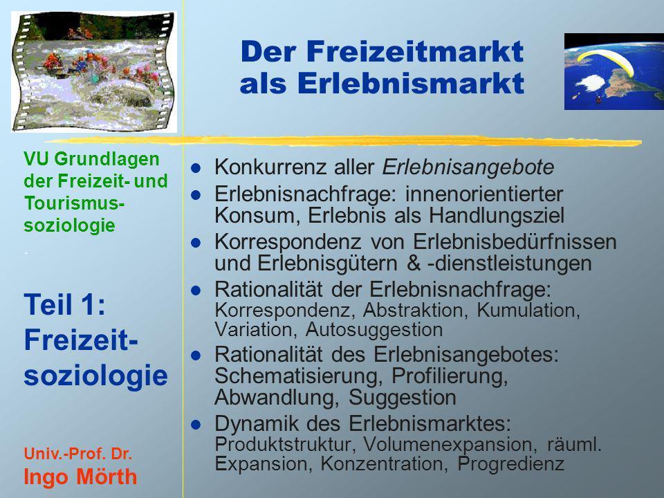 VU Grundlagen der Freizeit- und Tourismus- soziologie. Teil 1: Freizeit- soziologie Univ.-Prof. Dr. Ingo Mörth Der Freizeitmarkt als Erlebnismarkt l K