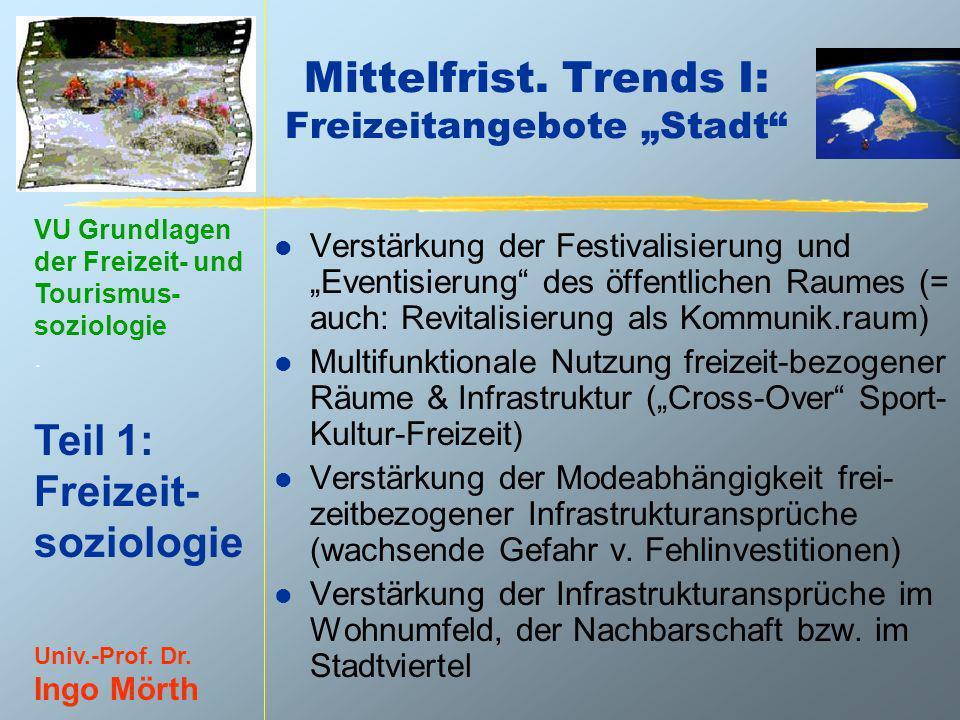 VU Grundlagen der Freizeit- und Tourismus- soziologie. Teil 1: Freizeit- soziologie Univ.-Prof. Dr. Ingo Mörth Mittelfrist. Trends I: Freizeitangebote