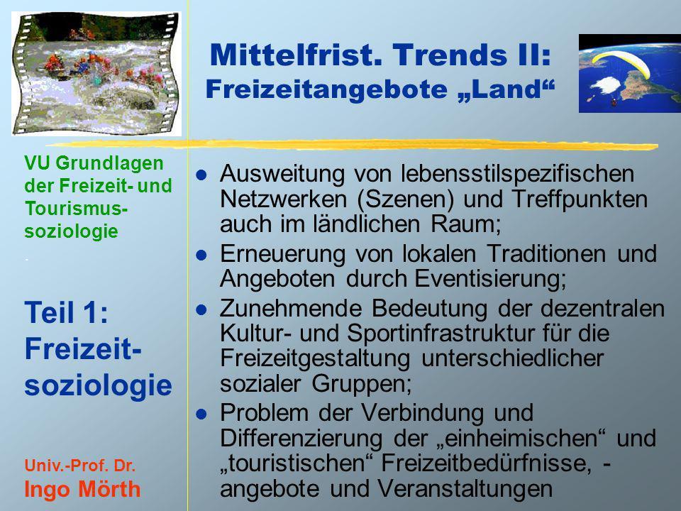 VU Grundlagen der Freizeit- und Tourismus- soziologie. Teil 1: Freizeit- soziologie Univ.-Prof. Dr. Ingo Mörth Mittelfrist. Trends II: Freizeitangebot
