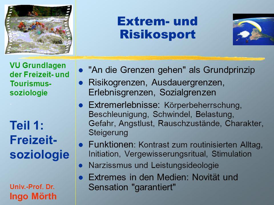 VU Grundlagen der Freizeit- und Tourismus- soziologie. Teil 1: Freizeit- soziologie Univ.-Prof. Dr. Ingo Mörth Extrem- und Risikosport l