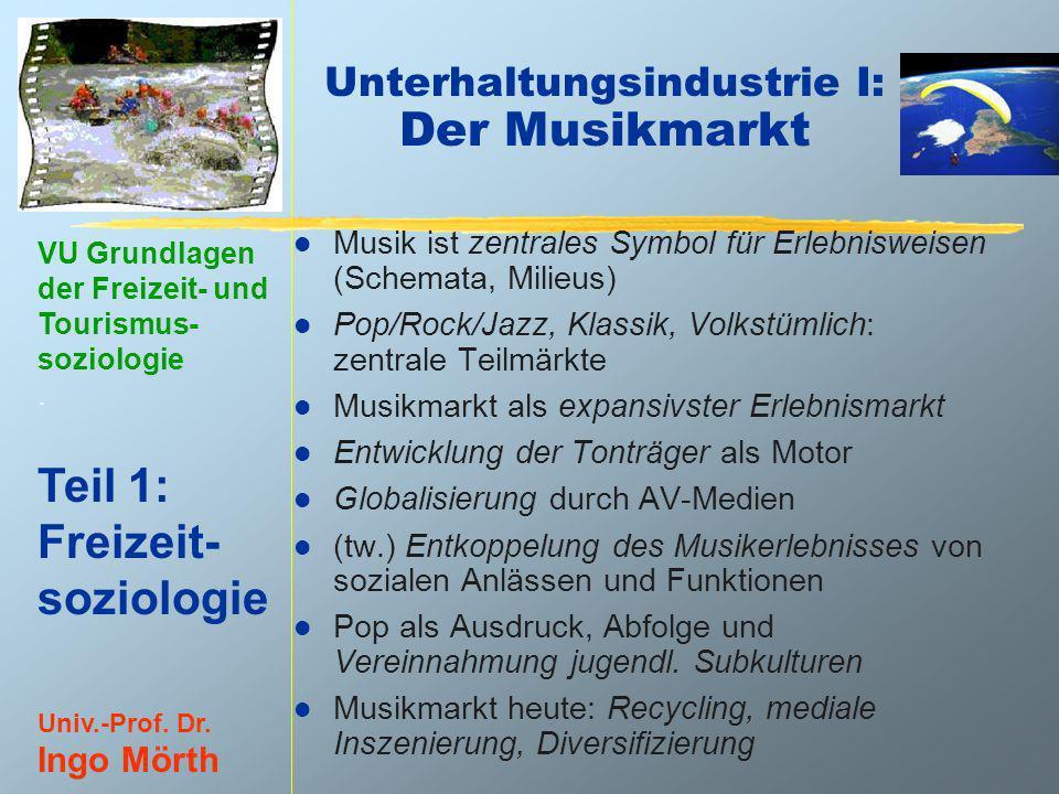 VU Grundlagen der Freizeit- und Tourismus- soziologie. Teil 1: Freizeit- soziologie Univ.-Prof. Dr. Ingo Mörth Unterhaltungsindustrie I: Der Musikmark