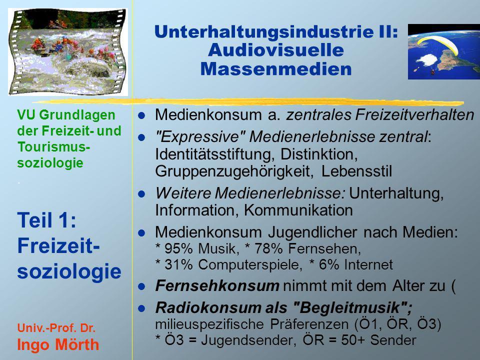 VU Grundlagen der Freizeit- und Tourismus- soziologie. Teil 1: Freizeit- soziologie Univ.-Prof. Dr. Ingo Mörth Unterhaltungsindustrie II: Audiovisuell