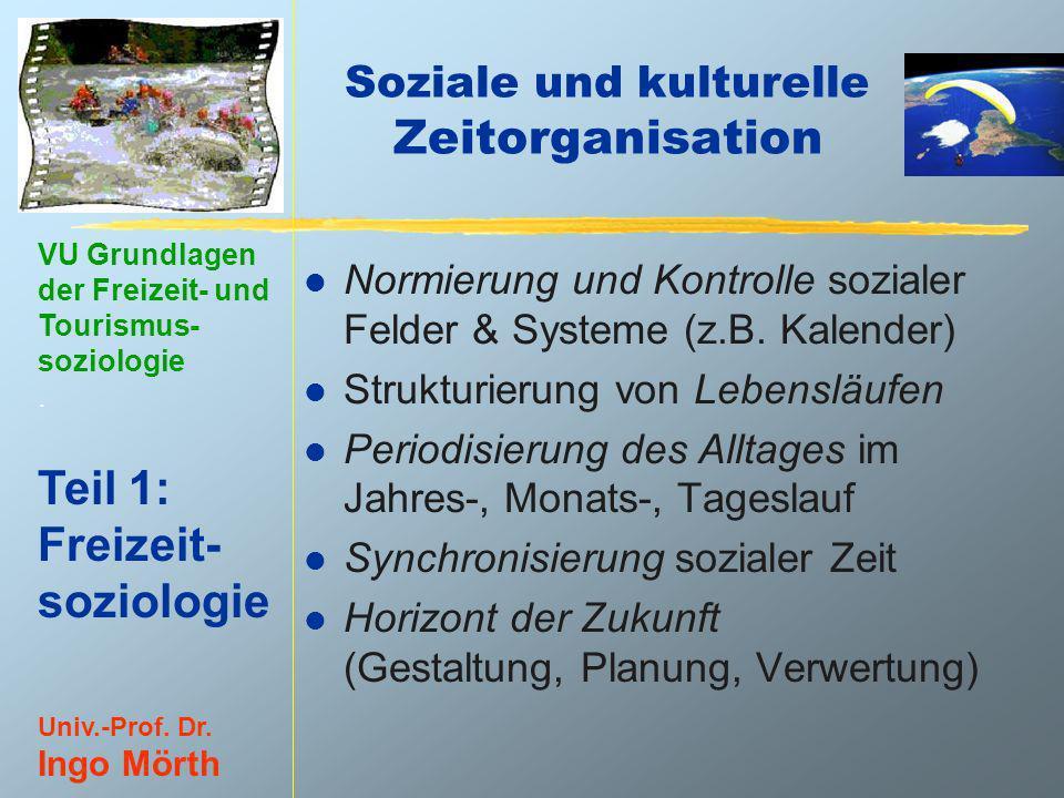 VU Grundlagen der Freizeit- und Tourismus- soziologie. Teil 1: Freizeit- soziologie Univ.-Prof. Dr. Ingo Mörth Soziale und kulturelle Zeitorganisation