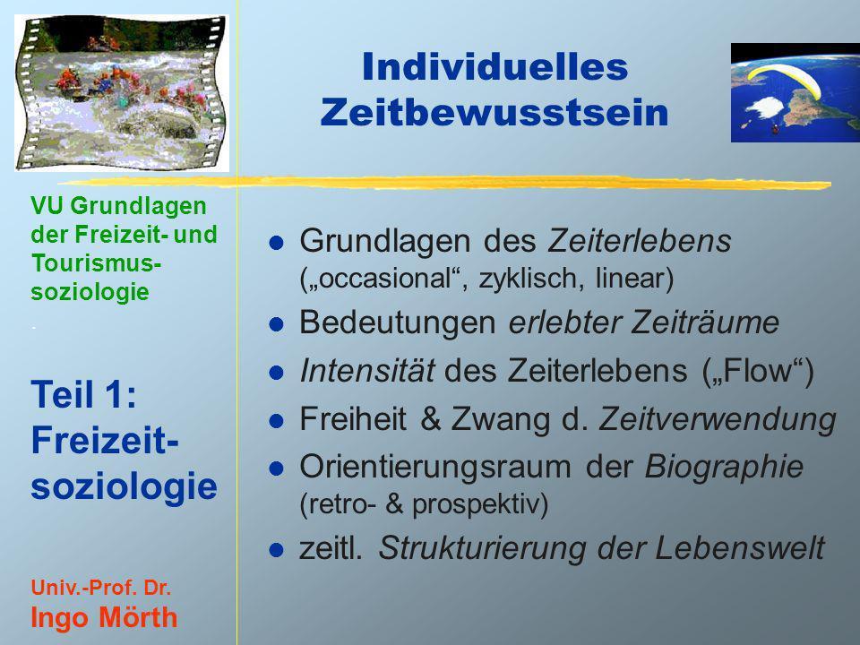 VU Grundlagen der Freizeit- und Tourismus- soziologie. Teil 1: Freizeit- soziologie Univ.-Prof. Dr. Ingo Mörth Individuelles Zeitbewusstsein l Grundla