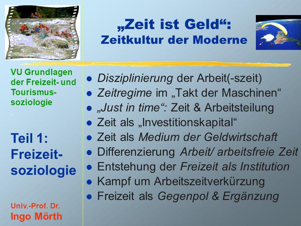 VU Grundlagen der Freizeit- und Tourismus- soziologie. Teil 1: Freizeit- soziologie Univ.-Prof. Dr. Ingo Mörth Zeit ist Geld: Zeitkultur der Moderne l