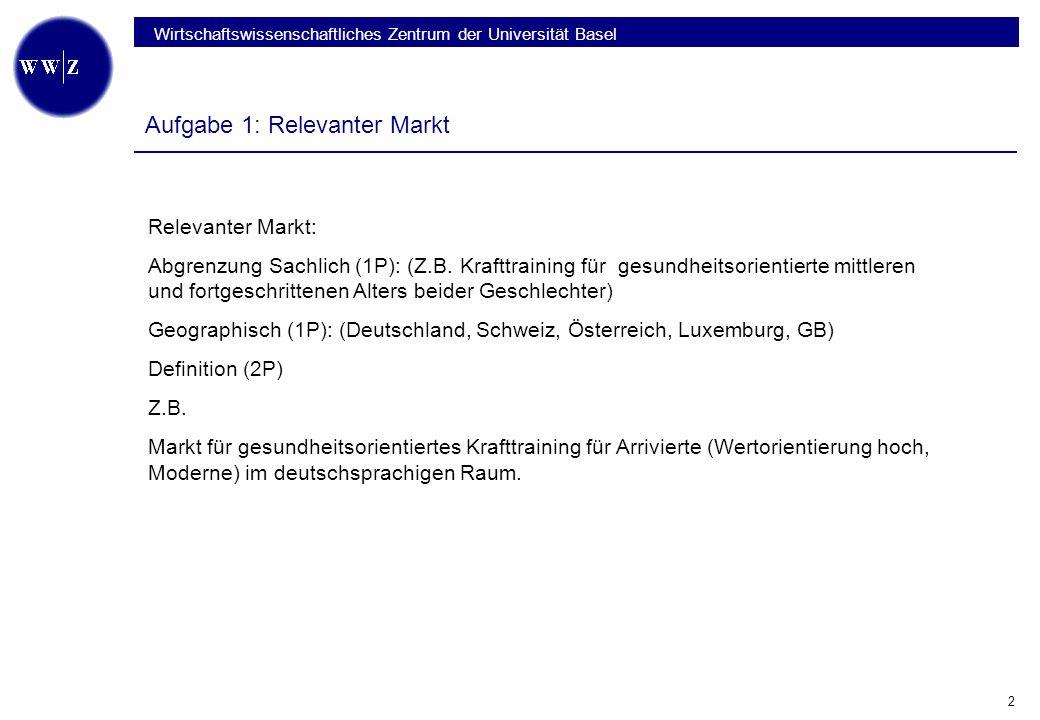Wirtschaftswissenschaftliches Zentrum der Universität Basel 2 Aufgabe 1: Relevanter Markt Relevanter Markt: Abgrenzung Sachlich (1P): (Z.B.