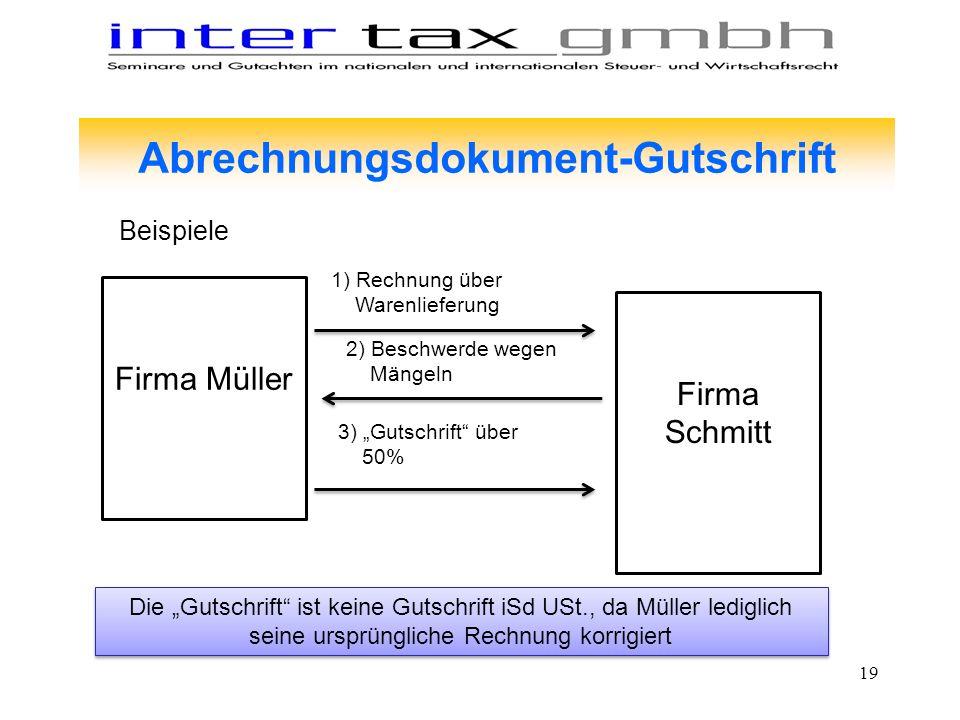 Abrechnungsdokument-Gutschrift Firma Müller Firma Schmitt 1) Rechnung über Warenlieferung 2) Beschwerde wegen Mängeln 3) Gutschrift über 50% Die Gutsc