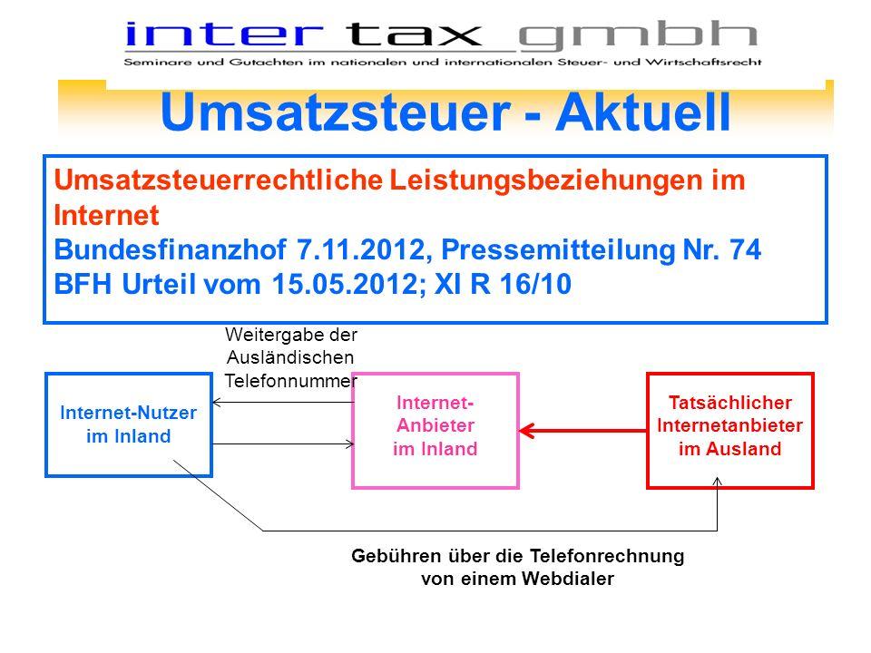 Umsatzsteuer - Aktuell Umsatzsteuerrechtliche Leistungsbeziehungen im Internet Bundesfinanzhof 7.11.2012, Pressemitteilung Nr. 74 BFH Urteil vom 15.05