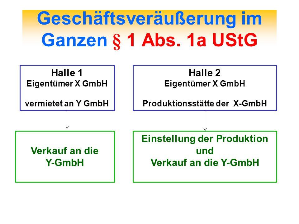 Geschäftsveräußerung im Ganzen § 1 Abs. 1a UStG Halle 1 Eigentümer X GmbH vermietet an Y GmbH Verkauf an die Y-GmbH Halle 2 Eigentümer X GmbH Produkti