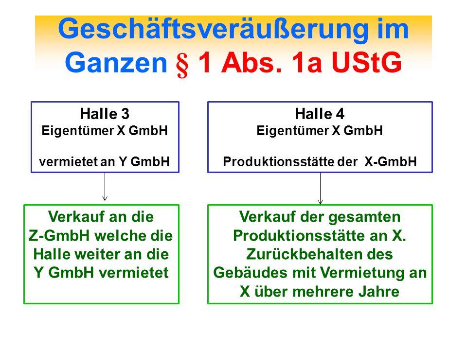 Geschäftsveräußerung im Ganzen § 1 Abs. 1a UStG Halle 3 Eigentümer X GmbH vermietet an Y GmbH Verkauf an die Z-GmbH welche die Halle weiter an die Y G