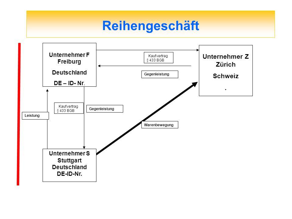 Reihengeschäft Kaufvertrag § 433 BGB Gegenleistung Leistung Gegenleistung Warenbewegung Kaufvertrag § 433 BGB Unternehmer S Stuttgart Deutschland DE-I
