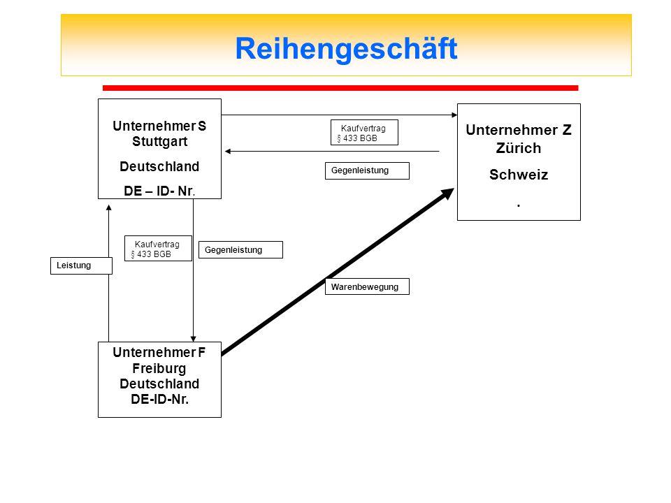 Reihengeschäft Kaufvertrag § 433 BGB Gegenleistung Leistung Gegenleistung Warenbewegung Kaufvertrag § 433 BGB Unternehmer F Freiburg Deutschland DE-ID
