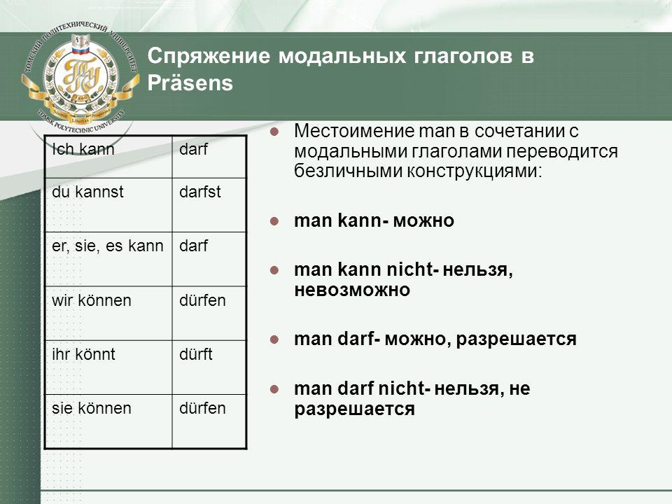 Спряжение модальных глаголов в Präsens Местоимение man в сочетании с модальными глаголами переводится безличными конструкциями: man kann- можно man ka