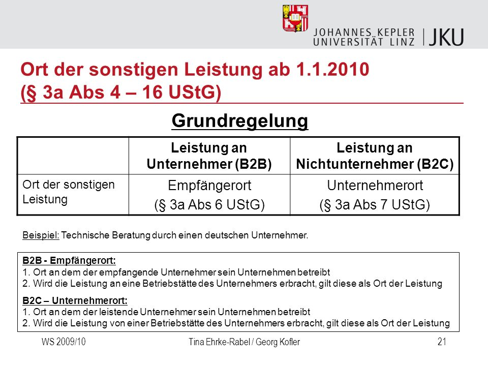 WS 2009/10Tina Ehrke-Rabel / Georg Kofler21 Ort der sonstigen Leistung ab 1.1.2010 (§ 3a Abs 4 – 16 UStG) Leistung an Unternehmer (B2B) Leistung an Ni
