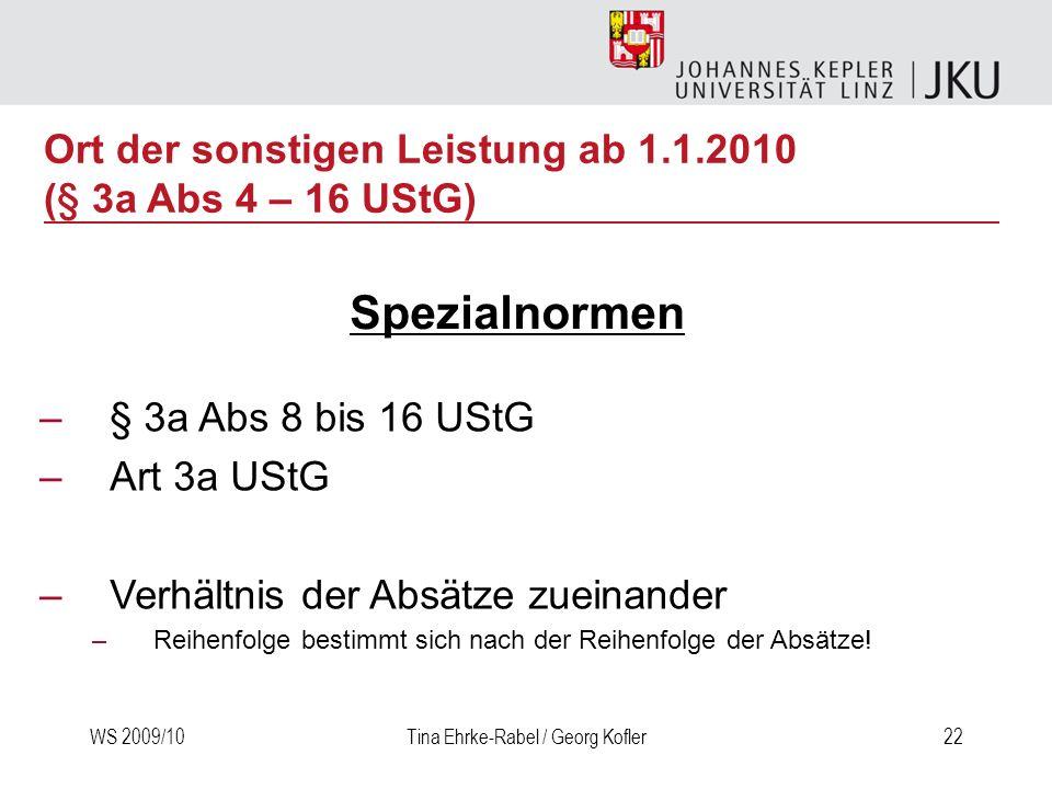 WS 2009/10Tina Ehrke-Rabel / Georg Kofler22 –§ 3a Abs 8 bis 16 UStG –Art 3a UStG –Verhältnis der Absätze zueinander –Reihenfolge bestimmt sich nach de