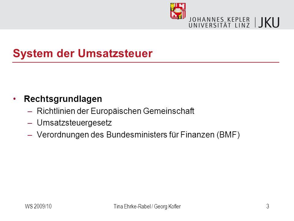 WS 2009/10Tina Ehrke-Rabel / Georg Kofler14 Gegenstand der USt Grundtatbestand –Lieferungen –Sonstige Leistungen Ergänzungstatbestand –Eigenverbrauch –Einfuhr aus dem Drittland