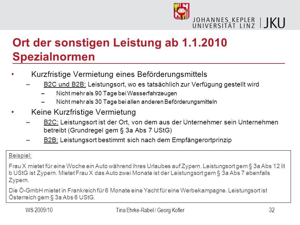 WS 2009/10Tina Ehrke-Rabel / Georg Kofler32 Kurzfristige Vermietung eines Beförderungsmittels –B2C und B2B: Leistungsort, wo es tatsächlich zur Verfüg