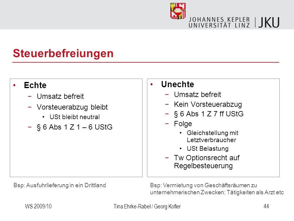 WS 2009/10Tina Ehrke-Rabel / Georg Kofler44 Steuerbefreiungen Echte Umsatz befreit Vorsteuerabzug bleibt USt bleibt neutral § 6 Abs 1 Z 1 – 6 UStG Une