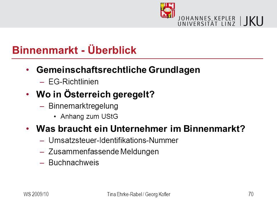 WS 2009/10Tina Ehrke-Rabel / Georg Kofler70 Binnenmarkt - Überblick Gemeinschaftsrechtliche Grundlagen –EG-Richtlinien Wo in Österreich geregelt? –Bin