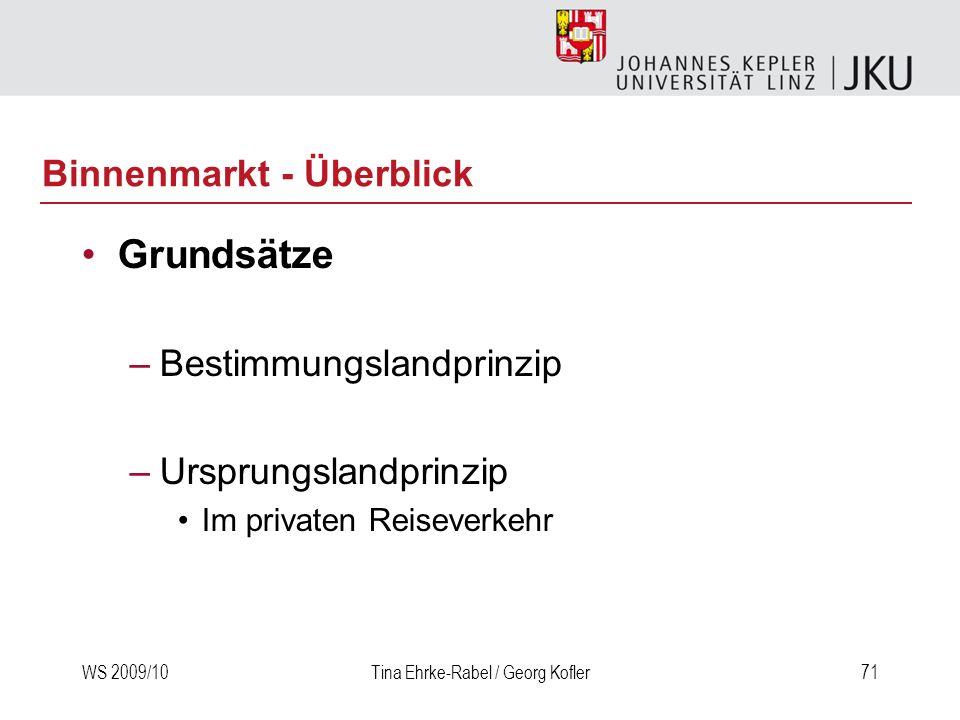 WS 2009/10Tina Ehrke-Rabel / Georg Kofler71 Binnenmarkt - Überblick Grundsätze –Bestimmungslandprinzip –Ursprungslandprinzip Im privaten Reiseverkehr