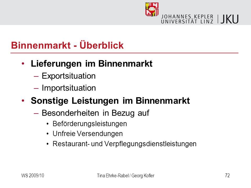 WS 2009/10Tina Ehrke-Rabel / Georg Kofler72 Binnenmarkt - Überblick Lieferungen im Binnenmarkt –Exportsituation –Importsituation Sonstige Leistungen i