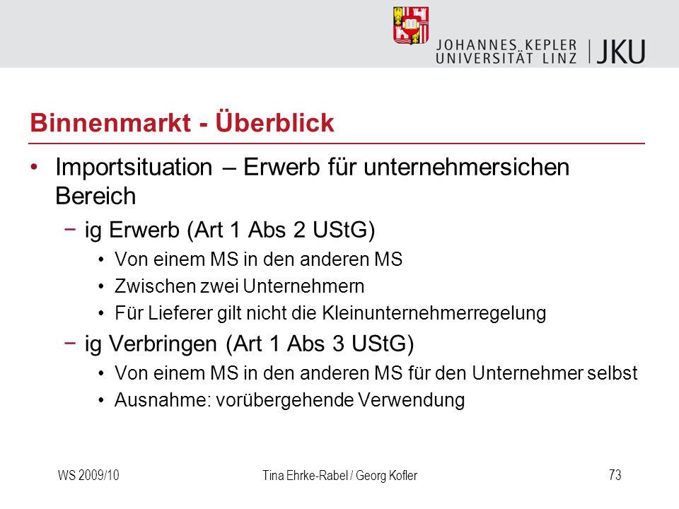WS 2009/10Tina Ehrke-Rabel / Georg Kofler73 Importsituation – Erwerb für unternehmersichen Bereich ig Erwerb (Art 1 Abs 2 UStG) Von einem MS in den an