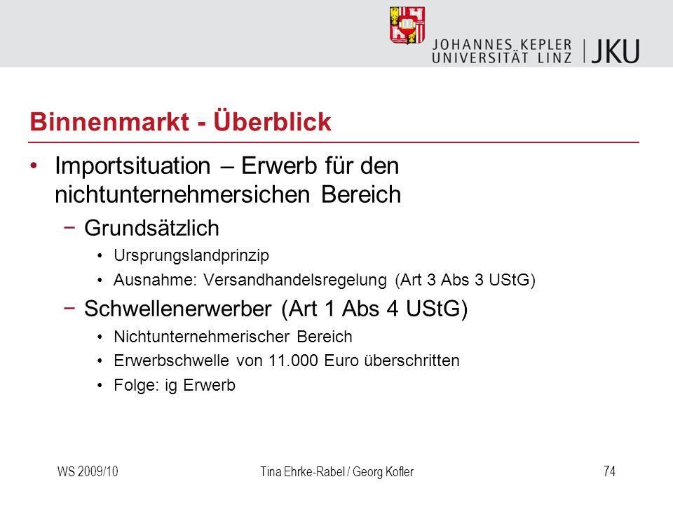 WS 2009/10Tina Ehrke-Rabel / Georg Kofler74 Importsituation – Erwerb für den nichtunternehmersichen Bereich Grundsätzlich Ursprungslandprinzip Ausnahm