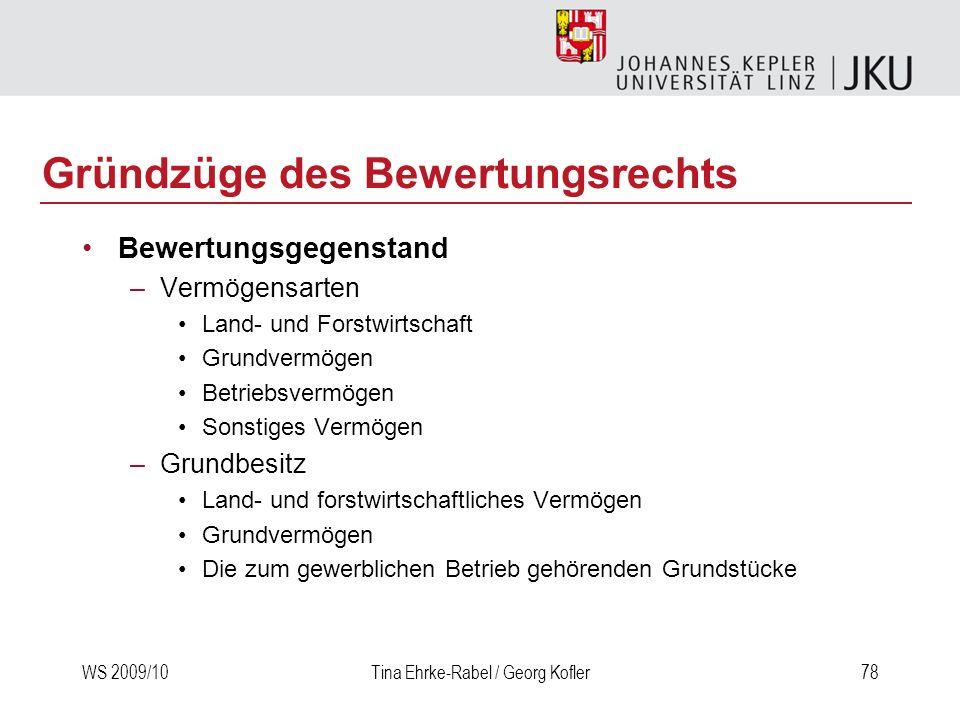 WS 2009/10Tina Ehrke-Rabel / Georg Kofler78 Gründzüge des Bewertungsrechts Bewertungsgegenstand –Vermögensarten Land- und Forstwirtschaft Grundvermöge