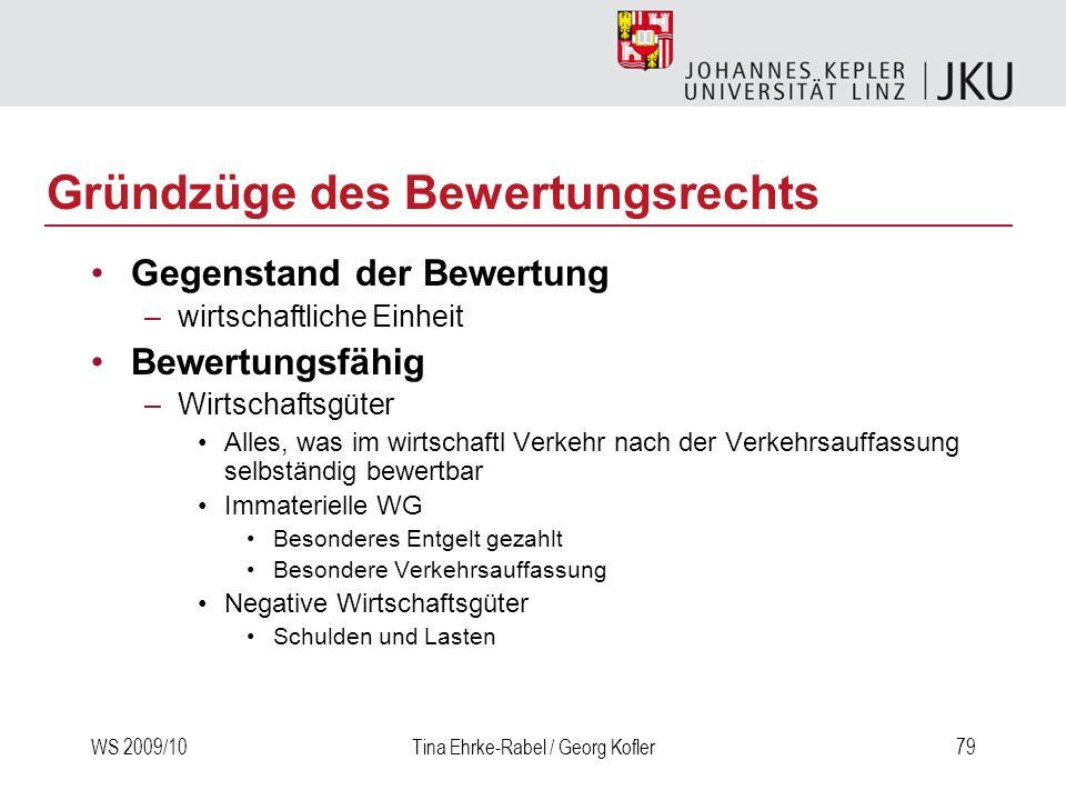 WS 2009/10Tina Ehrke-Rabel / Georg Kofler79 Gründzüge des Bewertungsrechts Gegenstand der Bewertung –wirtschaftliche Einheit Bewertungsfähig –Wirtscha