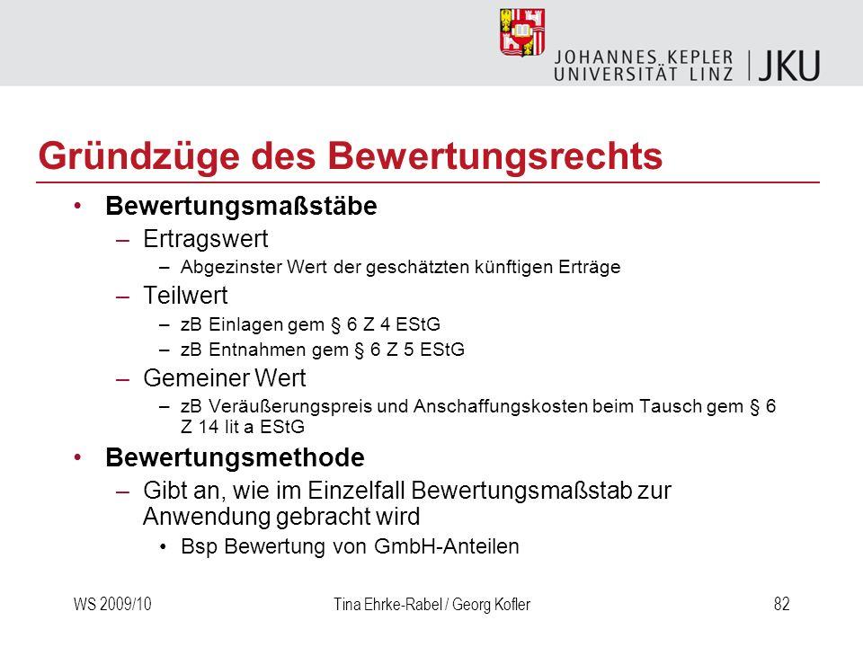 WS 2009/10Tina Ehrke-Rabel / Georg Kofler82 Gründzüge des Bewertungsrechts Bewertungsmaßstäbe –Ertragswert –Abgezinster Wert der geschätzten künftigen
