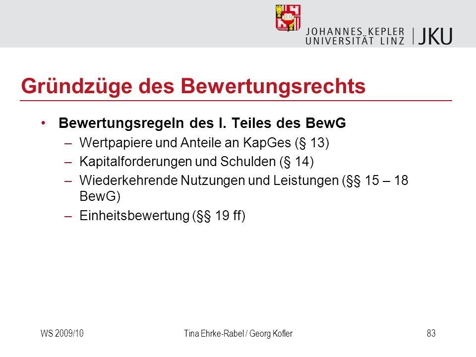 WS 2009/10Tina Ehrke-Rabel / Georg Kofler83 Gründzüge des Bewertungsrechts Bewertungsregeln des I. Teiles des BewG –Wertpapiere und Anteile an KapGes