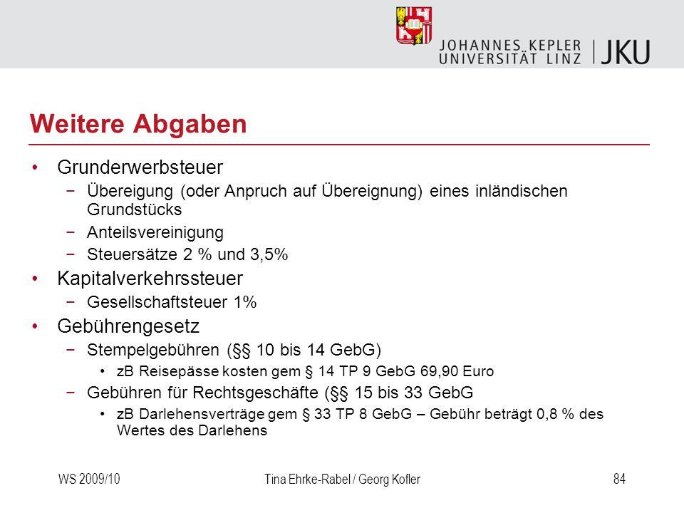 WS 2009/10Tina Ehrke-Rabel / Georg Kofler84 Weitere Abgaben Grunderwerbsteuer Übereigung (oder Anpruch auf Übereignung) eines inländischen Grundstücks