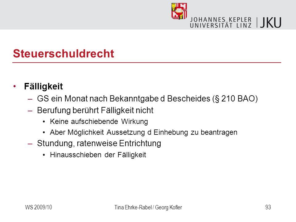 WS 2009/10Tina Ehrke-Rabel / Georg Kofler93 Steuerschuldrecht Fälligkeit –GS ein Monat nach Bekanntgabe d Bescheides (§ 210 BAO) –Berufung berührt Fäl
