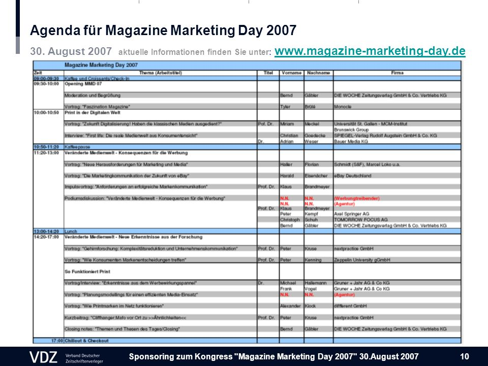 Sponsoring zum Kongress Magazine Marketing Day August Agenda für Magazine Marketing Day