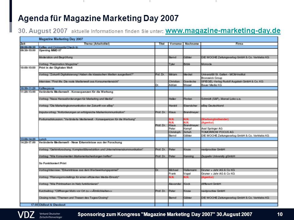 Sponsoring zum Kongress Magazine Marketing Day 2007 30.August 2007 10 Agenda für Magazine Marketing Day 2007 30.