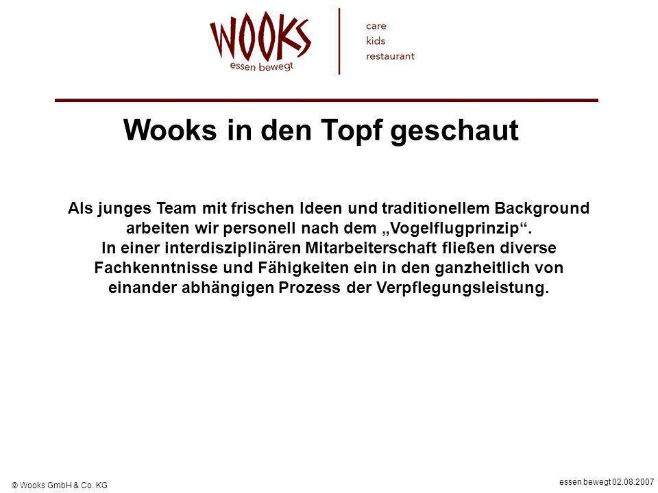 essen bewegt 02.08.2007 © Wooks GmbH & Co. KG Als junges Team mit frischen Ideen und traditionellem Background arbeiten wir personell nach dem Vogelfl
