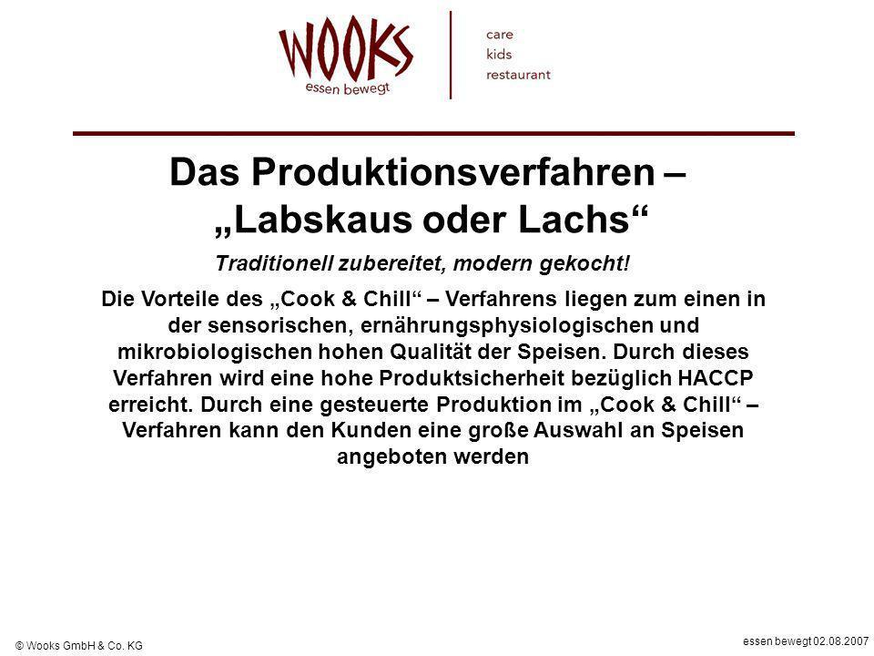 essen bewegt 02.08.2007 © Wooks GmbH & Co. KG Die Vorteile des Cook & Chill – Verfahrens liegen zum einen in der sensorischen, ernährungsphysiologisch