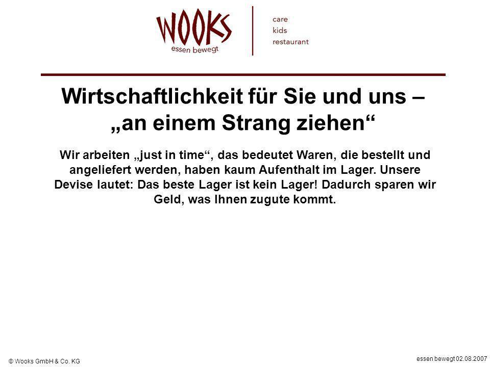 essen bewegt 02.08.2007 © Wooks GmbH & Co. KG Wirtschaftlichkeit für Sie und uns – an einem Strang ziehen Wir arbeiten just in time, das bedeutet Ware