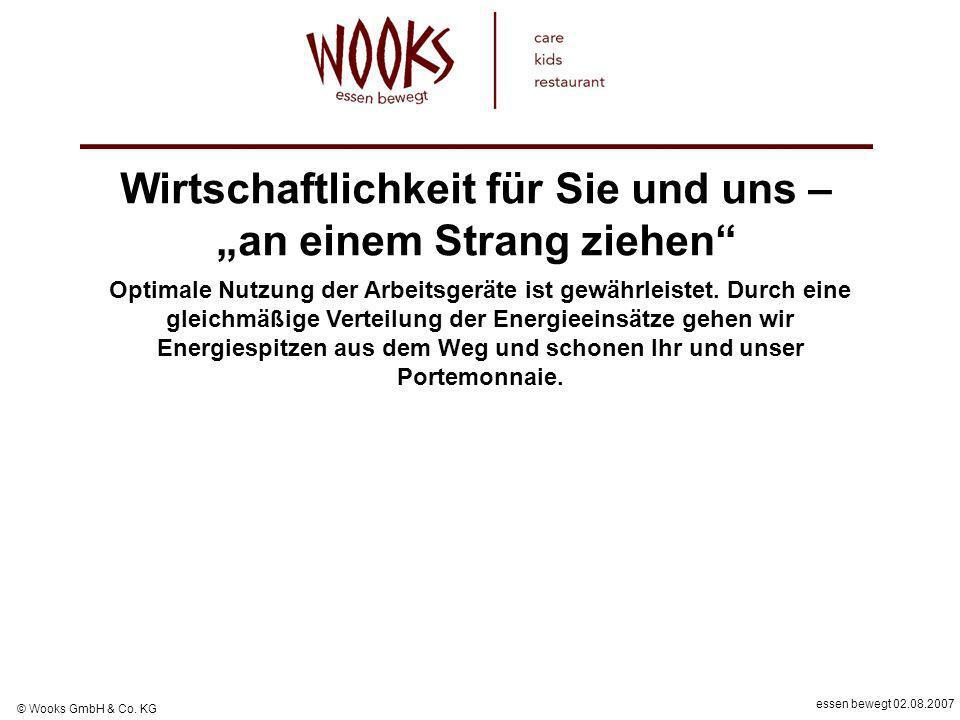 essen bewegt 02.08.2007 © Wooks GmbH & Co. KG Optimale Nutzung der Arbeitsgeräte ist gewährleistet. Durch eine gleichmäßige Verteilung der Energieeins