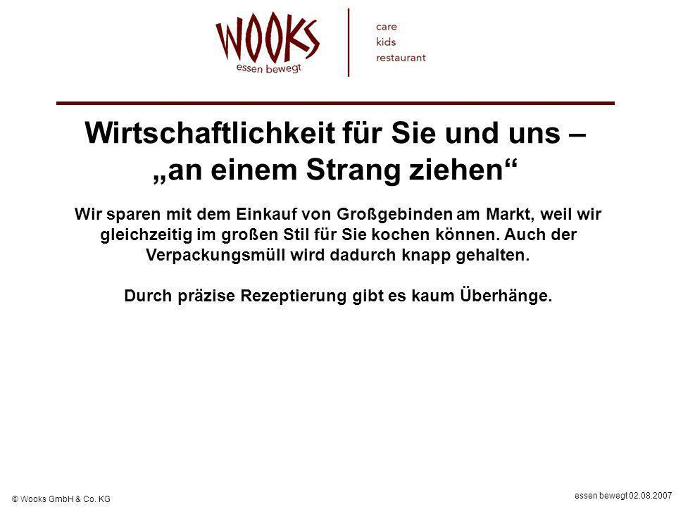 essen bewegt 02.08.2007 © Wooks GmbH & Co. KG Wirtschaftlichkeit für Sie und uns – an einem Strang ziehen Wir sparen mit dem Einkauf von Großgebinden