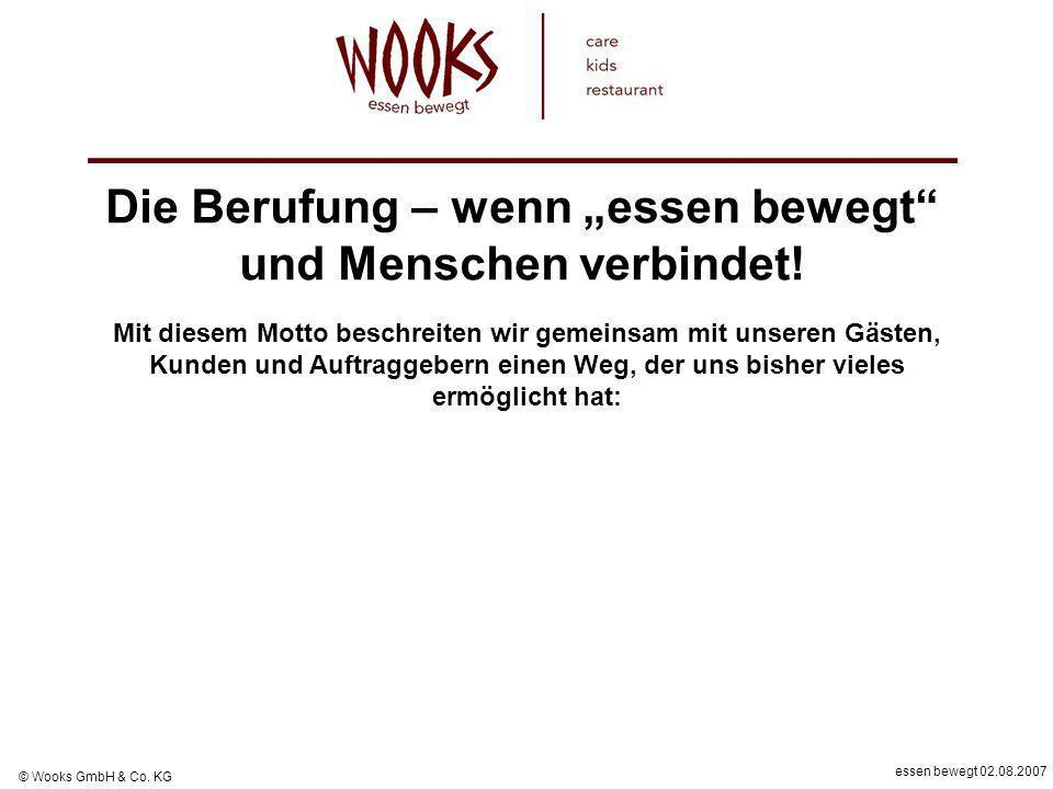 essen bewegt 02.08.2007 © Wooks GmbH & Co. KG Die Berufung – wenn essen bewegt und Menschen verbindet! Mit diesem Motto beschreiten wir gemeinsam mit
