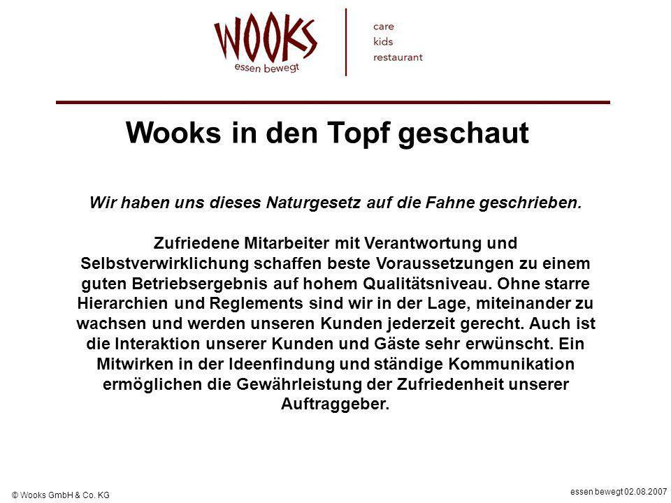essen bewegt 02.08.2007 © Wooks GmbH & Co. KG Wir haben uns dieses Naturgesetz auf die Fahne geschrieben. Zufriedene Mitarbeiter mit Verantwortung und