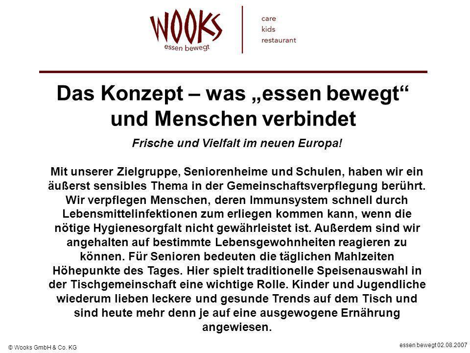 essen bewegt 02.08.2007 © Wooks GmbH & Co. KG Das Konzept – was essen bewegt und Menschen verbindet Frische und Vielfalt im neuen Europa! Mit unserer