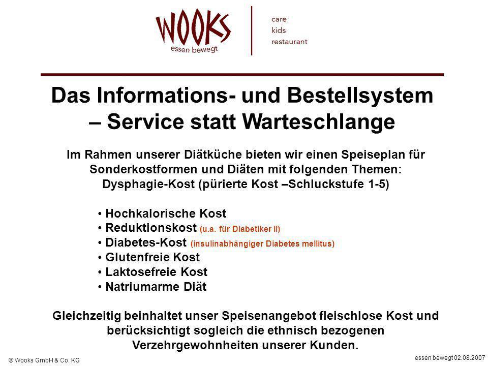essen bewegt 02.08.2007 © Wooks GmbH & Co. KG Das Informations- und Bestellsystem – Service statt Warteschlange Im Rahmen unserer Diätküche bieten wir