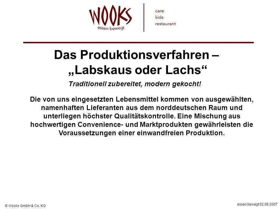 essen bewegt 02.08.2007 © Wooks GmbH & Co. KG Die von uns eingesetzten Lebensmittel kommen von ausgewählten, namenhaften Lieferanten aus dem norddeuts