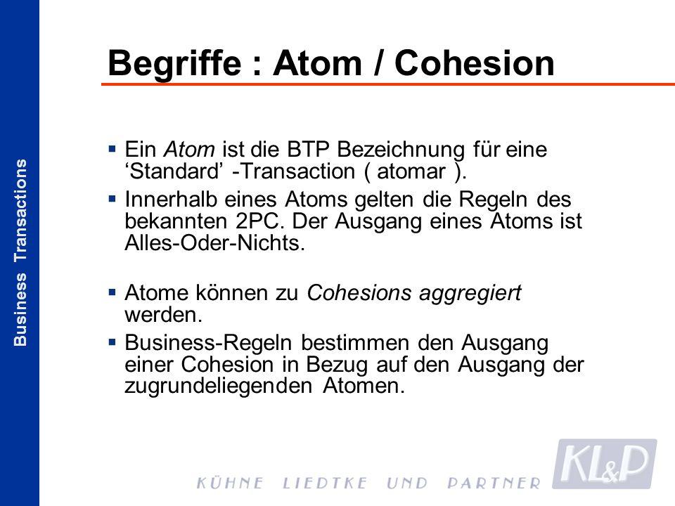 Business Transactions Begriffe : Atom / Cohesion Ein Atom ist die BTP Bezeichnung für eine Standard -Transaction ( atomar ). Innerhalb eines Atoms gel