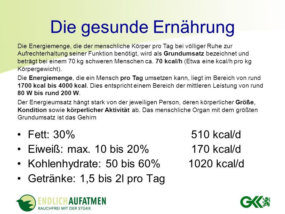 Die gesunde Ernährung Fett: 30% 510 kcal/d Eiweiß: max. 10 bis 20% 170 kcal/d Kohlenhydrate: 50 bis 60%1020 kcal/d Getränke: 1,5 bis 2l pro Tag Die En