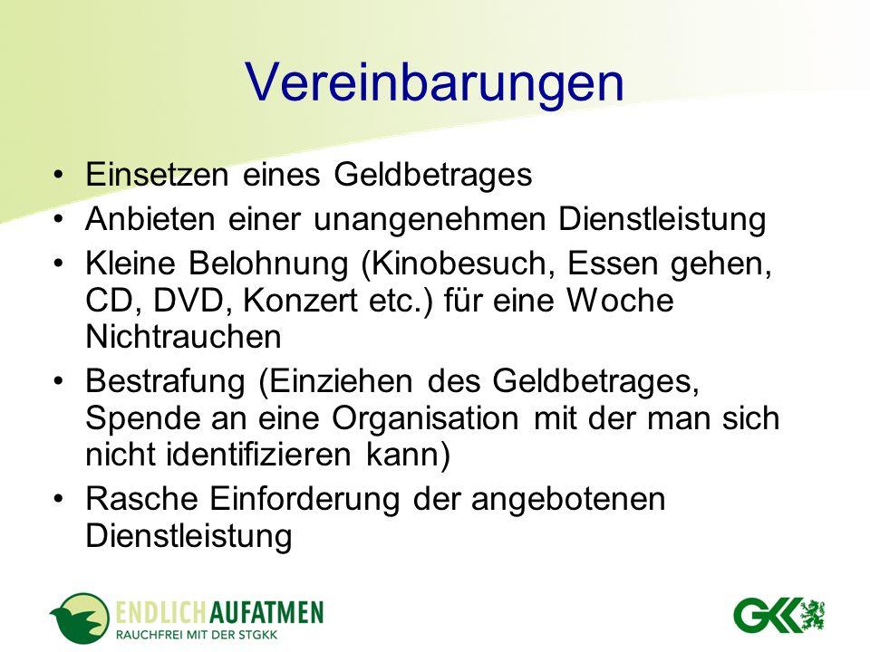 Vereinbarungen Einsetzen eines Geldbetrages Anbieten einer unangenehmen Dienstleistung Kleine Belohnung (Kinobesuch, Essen gehen, CD, DVD, Konzert etc
