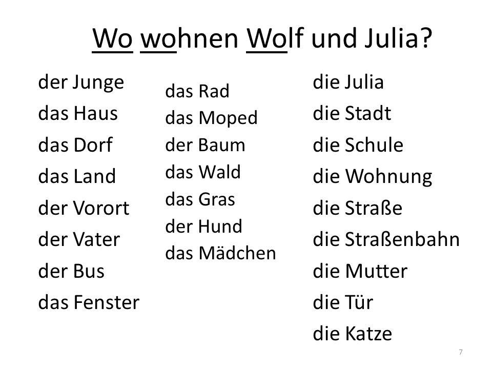 Wo wohnen Wolf und Julia.